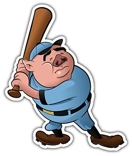 cartoon Babe Ruth Pig Porkys Baseball Broadcast Car Bumper Sticker Decal 4'' X 5''