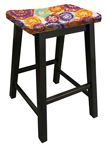 The Furniture Cove Black Wood Bar Stool Saddle-Seat Style in 29