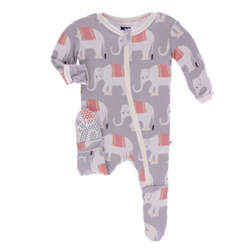 Kickee Pants Little Girls Print Footie with Zipper - Feather Indian Elephant, 2T