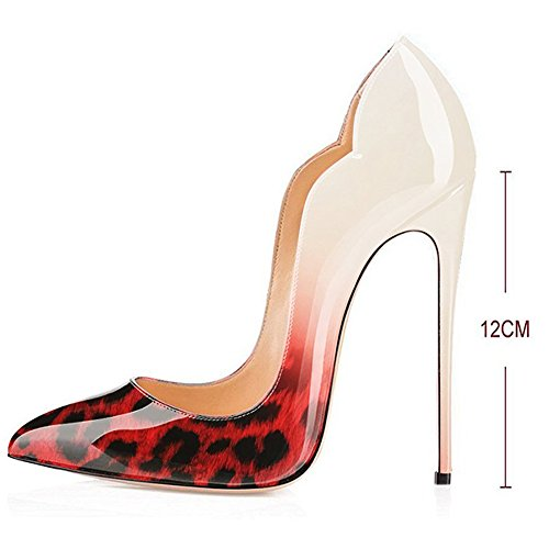 Pointed Leopard Dress On Stiletto Kmeioo Shoes 003 Evening Pumps Women's Classic Toe Party Heels Pumps Slip High ZtRTqFw