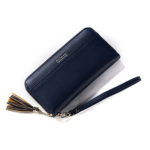 Leather With Crease Evening Bag Inch Tassel Women Stain Card Slots 5 Card 5 Zipper Purse Wedding Resistant Wallet Handbag Wallet Clutch Lady For Phone PU 3 Bag 12 Compartment Deep Blue Soft Holder B8Yq6w8