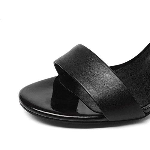 del Las pie del Verano Mujeres Toe Tacón Sandalias Cremallera Alto Open de Zapatos Tacones Negro Trasera de Altos pie de del 580qxCACw