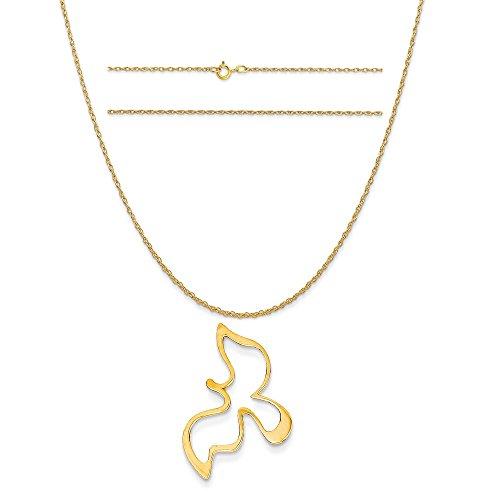 Yellow Gold Dove Pendant - 7