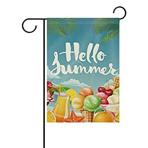 La Random Outdoor Garden Yard Flags Banner Polyester 12x18 Inches Hello Summer Fruit Party Welcome Flag Double Sided Print Holiday Garden Flag