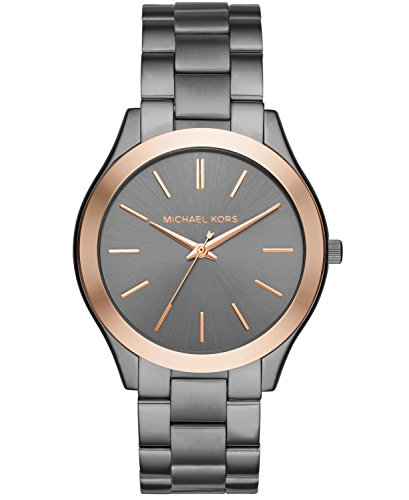 Michael Kors Men's Analog-Quartz Watch with Stainless-Steel Strap, Grey, 22 (Model: MK8576) (Rose Gold Michael Kor Watch)