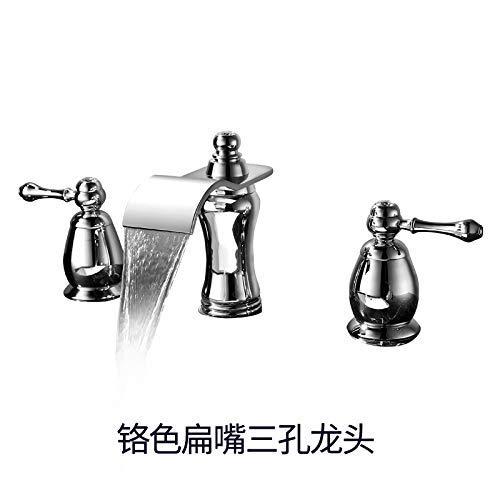 JingJingnet 洗面器ミキサータップ浴室のシンクの蛇口盆地の滝の蛇口は、温水と冷水の洗面器の浴室のカウンターの洗面器の穴ダブルハンドルの蛇口、3穴チタンゴールド (Color : 4) B07SMVPL66 4