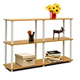 Classroom Bookshelves and Bookcases Etagere Bookcase Beech and White 3 Tier Industrial Modern Free Standing Rectangle Bookcase & E-Book