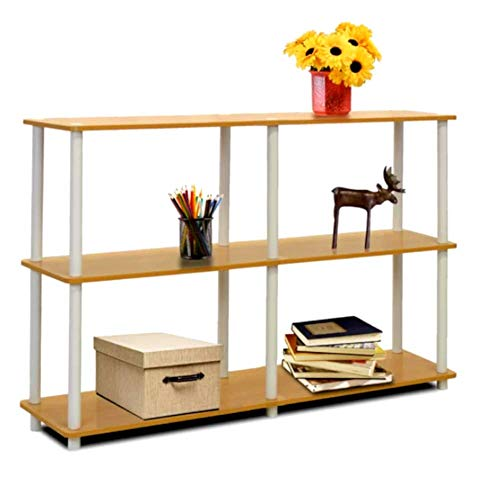 Classroom Bookshelves and Bookcases Etagere Bookcase Beech and White 3 Tier Industrial Modern Free Standing Rectangle Bookcase & E-Book by Classroom