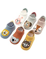 6 Pairs Baby Non Slip Grip Cotton Animal Ankle Socks with Non Skid Soles for Newborn Toddler Boy Girl