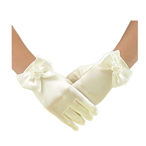 Short Flower Girls Gloves for Wedding Satin Gloves for Girls Princess Gloves ()