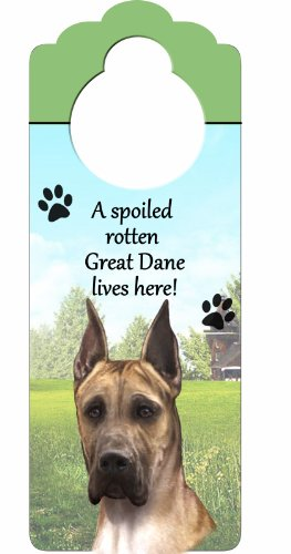 E&S Pets Great Dane, Fawn Wood Sign A Spoiled Rotten Great Dane, Fawn Lives Here with Artistic Photograph Measuring 10 by 4 Inches Can Be Hung On Doorknobs Or Anywhere (Tiger Woods Costume Ideas)