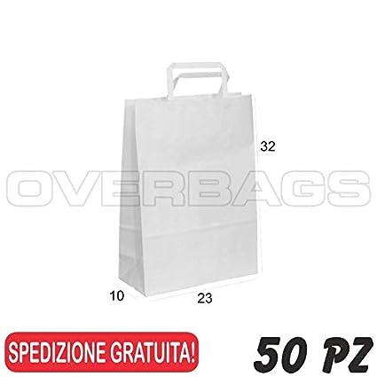 OverBags cm 18x8x25 50 PZ Borse Shopper di Carta Manico PIATTINA Sacchetti Carta Bianca