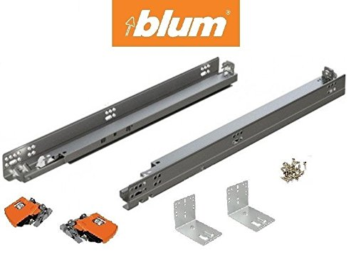 - Bundle - 21 BLUM TANDEM Drawer Slides with BLUMOTION. Includes Slides 563H, Locking Devices, Rear Mounting Brackets, Screws and Instructions. by Blum