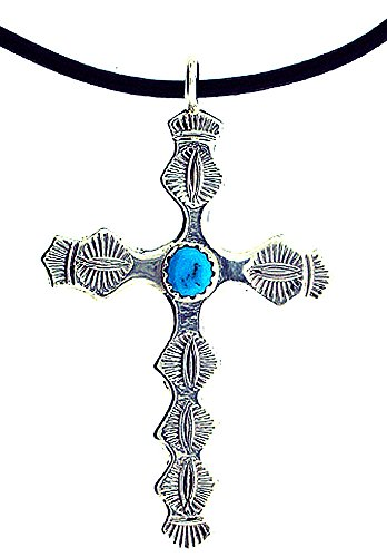 Made in the USA by Artist Pauline Nelson: Beautiful! Sterling-silver Navajo Turquoise Cross Leather Rope Pendant-necklaces 16 inch
