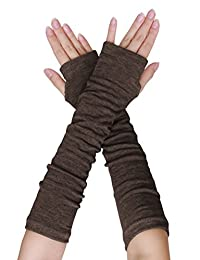SourcingMap Women Elbow Length Arm Warmer Gloves Thumbhole Fingerless 1 Pairs Brown