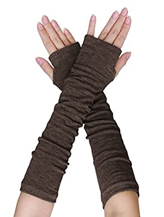 uxcell Lady Thumb Hole Stretch Wrist Arm Warmer Fingerless Gloves Pair, One Size, Brown