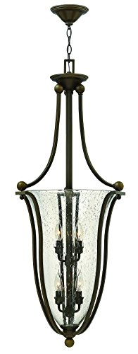Bolla Pendant Lighting - Hinkley 4665OB-CL Traditional Six Light Inverted Pendant from Bolla Collection in Bronze/Darkfinish,