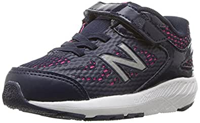 New Balance Girls' 519v1 Hook and Loop Running Shoe, Pigment/Pink glo, 1 XW US Little Kid