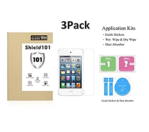 Shield101 3Pack Tempered Glass Screen Protectors for Apple (3Pack - iTouch 4) (Ipod 4 Screen Glass)