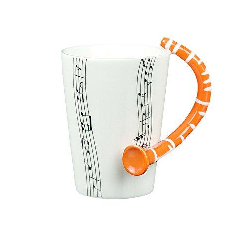 (Choholete Porcelain Orange Clarinet Music Black Stave Coffee Cup)