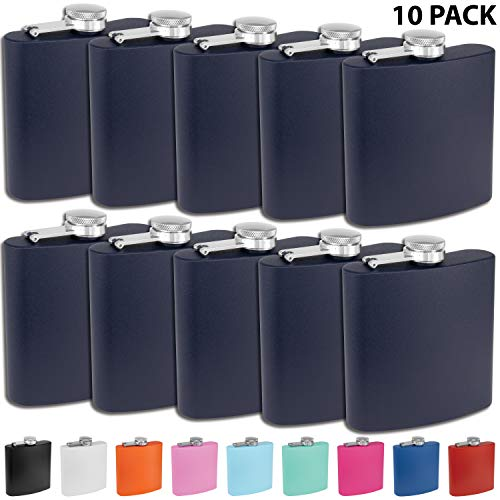 Clear Water Home Goods - 6 oz Powder Coated Stainless Steel Hip Flask - Wedding Party - Groomsman - Bridesmaid (Matte Navy, 10)