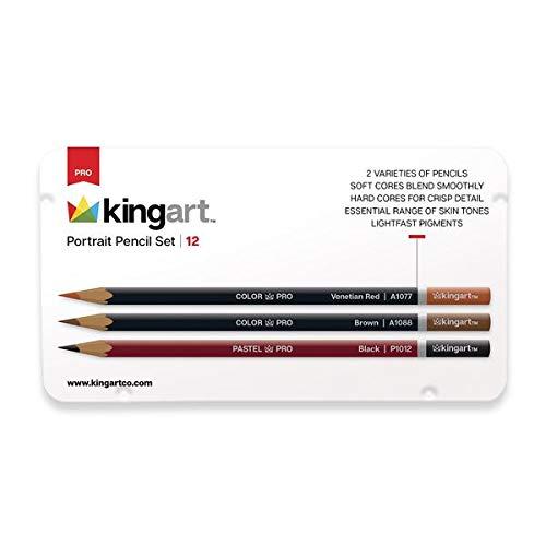 (KINGART 305-12 Metal Tin Case, Set of 12 Unique Colors Portrait Pencils, Assorted 12 Piece)
