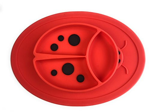 Silicone Mini Placemat - Baby Plate - Toddler Feeding Mat - by Hot1cE - Strong Suction Base - Portable - BPA Free - 100% Food Grade Silicone - Fits most highchairs, Microwave and Dishwasher safe (RED) -