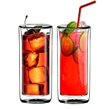 Sun's Tea(TM) (Set of 2) 20oz Ultra Clear Strong Double Wall Insulated Thermo Glass Tumbler V3 Highball Glass for Beer/cocktail/lemonade/iced Tea (Real Borosilicate Glass, Not Plastic)
