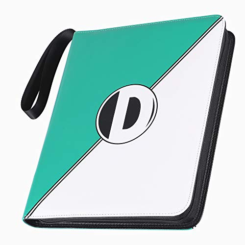 D DACCKIT Carrying Case Binder Compatible with Pokemon Trading Cards, Holds Up to 900 Cards - Card Collectors Album with 50 Premium 9-Pocket Pages - Green & White