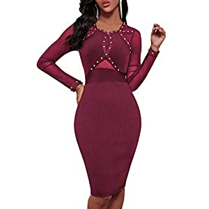whoinshop Women's Long Sleeve Studded Cocktial Party Bandage Dress with Sheer Mesh