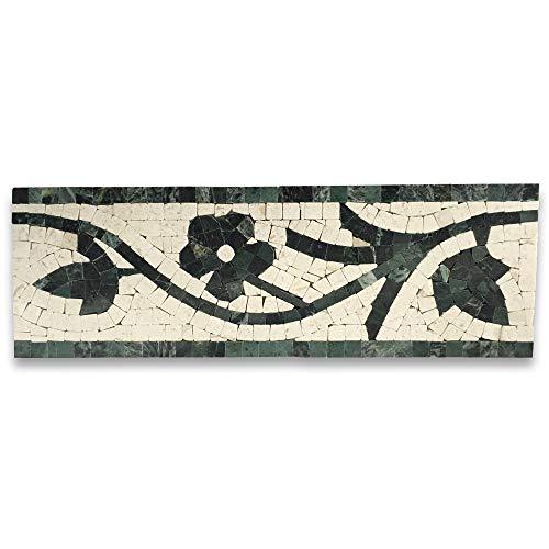 Green Azalea - Azalea Green 4x12 Marble Mosaic Border Listello Tile Polished