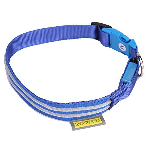 14' Three Light (Safety LED Dog Collar USB Rechargeable with Water Resistant Flashing Light 3 modes (on, strobe, blink)(S(14-17'' / 36-44cm), Blue))