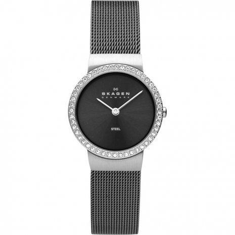 Skagen Women's 644SMM Denmark Charcoal Dial Crystal Accent Watch