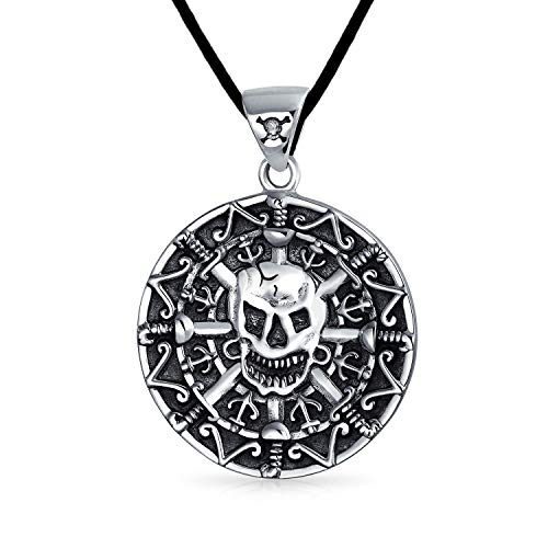 Medallion Round Caribbean Aztec Pirates Skull Pendant Necklace For Men Oxidized 925 Sterling Silver