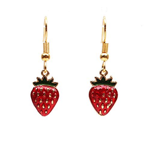 18K Gold Plated Vintage 3D Green Leaf Red Strawberry Charm Drop Dangle Earrings