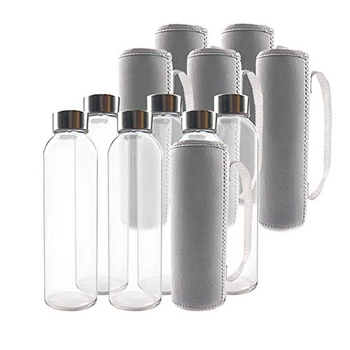 TeiKis 6-Pack Glass Water Bottle 18oz with Stainless Steel Cap and 6 Nylon Protection Sleeve