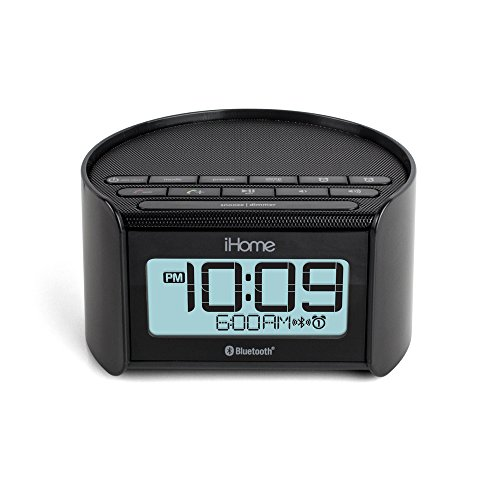ihome ibt230 bluetooth bedside dual alarm clock radio with speakerphone usb charging and line. Black Bedroom Furniture Sets. Home Design Ideas