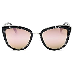 Quay My Girl Sunglasses Cat Eye Frame Kitty Metallic Aviator (Black Tortoise w/ Pink Mirror)