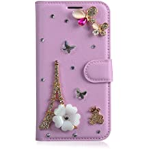 Alcatel A3 Case,Gift_Source [Card Slot] [Folio Flip] Handcraft Luxury 3D Bling Crystal Rhinestone PU Leather Magnetic Wallet Case Kickstand Cover for Alcatel A3 (5.0 inch) [Flowers Tower]