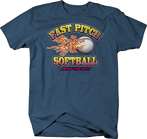 Fast Pitch Softball Bring The Heat Flamming Ball Pitching Sports Tshirt - XL Denim