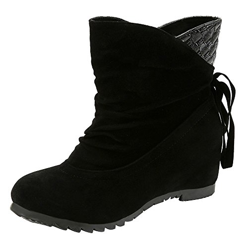Boots For Womens -Clearance Sale ,Farjing Women Boots Flat Low Slip-On Wedges Ankle Boots Casual Shoes Martin Boots(US:7.5,Black ) by Farjing