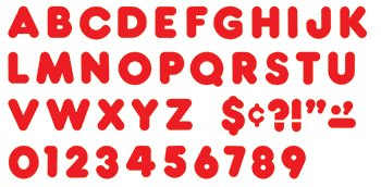 Red 4-inch Casual Uppercase Ready Letters