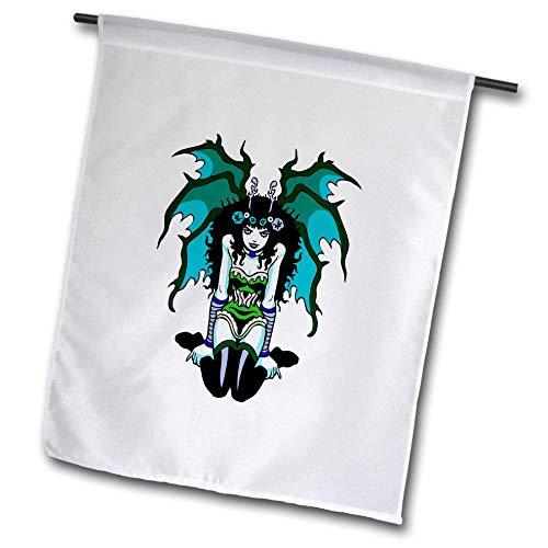 3dRose Russ Billington Designs - Gothic Vamp Girl Tattoo Style in Green and Blue - 12 x 18 inch Garden Flag (fl_293774_1)