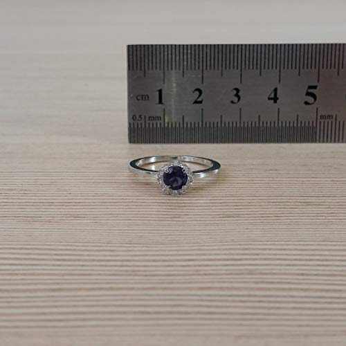 9k solid white gold halo 5mm round natural iolite ring with diamonds