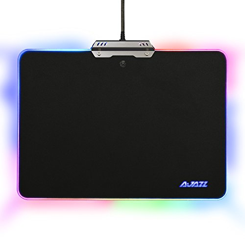 Ajazz Hard Mouse Pad, Colorful 9 Lighting Modes Touch Control for Games Office