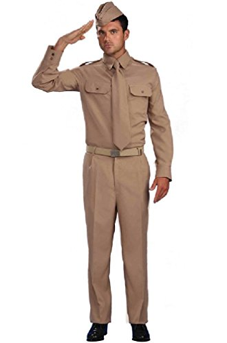 [8eighteen World War 2 Military Private Soldier Adult Costume] (Zombie Soldier Costumes)