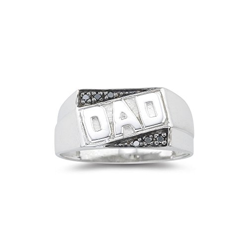 (0.01-0.06 Cts Black Diamond Dad Ring in Silver-10.0)