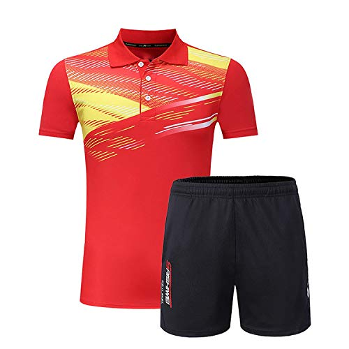 The small cat Lover's T-Shirt Patchwork Short Sleeves Men Collar Sport Shirt Quick Dry Golf Training Suit,Women Red,L