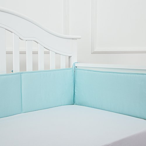 TILLYOU Cotton Collection Breathable Crib Bumper Pads for Standard Cribs Machine Washable Padded Crib Liner Set for Baby Boys Girls Safe Bumper Guards Crib Rail Padding, 4 Piece, ()