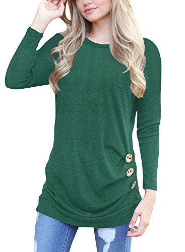 FISOUL Women's Casual Long Sleeve Draped Round Neck Loose Tunic T Shirt Blouse Tops Side Shirring green1